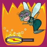Χαριτωμένος λίγο έντομο μυγών κινούμενων σχεδίων Στοκ φωτογραφία με δικαίωμα ελεύθερης χρήσης