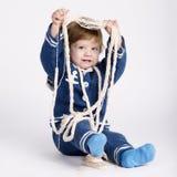 Χαριτωμένος λίγο μωρό ναυτικών στο λευκό Στοκ Φωτογραφίες