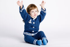 Χαριτωμένος λίγο μωρό ναυτικών στο λευκό Στοκ Εικόνα