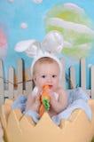 Χαριτωμένος λίγο μωρό που μασά στο στήριγμα καρότων Πάσχας Στοκ φωτογραφία με δικαίωμα ελεύθερης χρήσης