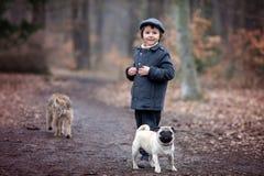 Χαριτωμένος λίγο παιδί, που παίζει με λίγο σκυλί κατοικίδιων ζώων στο δάσος Στοκ φωτογραφίες με δικαίωμα ελεύθερης χρήσης