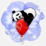Χαριτωμένος λίγο panda στο κόκκινο μπαλόνι αέρα, απεικόνιση καρτών γενεθλίων διανυσματική απεικόνιση