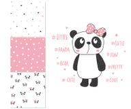 χαριτωμένος λίγο panda Σχέδιο επιφάνειας και 3 άνευ ραφής σχέδια διανυσματική απεικόνιση