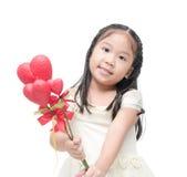 Χαριτωμένος Ασιάτης λουλούδι καρδιών εκμετάλλευσης παράνυμφων που απομονώνεται λίγο Στοκ Εικόνα