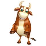 Χαριτωμένος αστείος χαρακτήρας κινουμένων σχεδίων του Bull Στοκ εικόνα με δικαίωμα ελεύθερης χρήσης