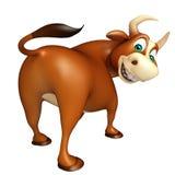 Χαριτωμένος αστείος χαρακτήρας κινουμένων σχεδίων του Bull Στοκ Εικόνες