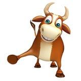 Χαριτωμένος αστείος χαρακτήρας κινουμένων σχεδίων του Bull Στοκ Φωτογραφίες