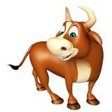 Χαριτωμένος αστείος χαρακτήρας κινουμένων σχεδίων του Bull Στοκ Φωτογραφία