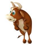 Χαριτωμένος αστείος χαρακτήρας κινουμένων σχεδίων του Bull Στοκ φωτογραφία με δικαίωμα ελεύθερης χρήσης