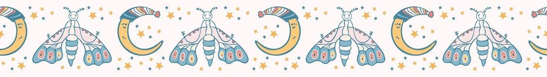 Χαριτωμένος διανυσματικός σεληνιακός σκώρος κινούμενων σχεδίων με το ευτυχές πρόσωπο χαμόγελου διανυσματική απεικόνιση