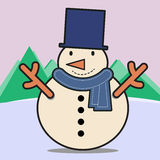 Χαριτωμένος ευτυχής χιονάνθρωπος Στοκ Εικόνες