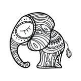 χαριτωμένος ελέφαντας λί&gam συρμένες γυναίκες απεικόνισης s χεριών προσώπου Ινδικό θέμα με τις διακοσμήσεις Στοκ Εικόνες