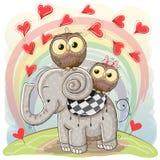Χαριτωμένος ελέφαντας κινούμενων σχεδίων και δύο κουκουβάγιες απεικόνιση αποθεμάτων