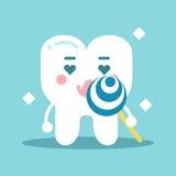 Χαριτωμένος η εκμετάλλευση χαρακτήρα δοντιών κινούμενων σχεδίων lollipop, οδοντική διανυσματική απεικόνιση για τα παιδιά Στοκ Εικόνες