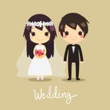 Χαριτωμένος διανυσματικός γαμήλιος σύζυγος λουλουδιών συζύγων ζευγών στοκ φωτογραφία