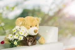 Χαριτωμένος καφετής αντέχει την κούκλα με την άσπρη ανθοδέσμη λουλουδιών ρομαντικό σε πράσινο Στοκ Εικόνες
