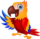 Χαριτωμένος κυματισμός κινούμενων σχεδίων πουλιών macaw διανυσματική απεικόνιση