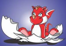 Χαριτωμένος κόκκινος δράκος γεννημένος Στοκ φωτογραφία με δικαίωμα ελεύθερης χρήσης