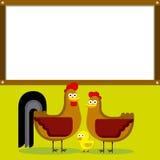 Χαριτωμένος κόκκορας, κότα και νεοσσός κινούμενων σχεδίων με το λευκό Στοκ φωτογραφία με δικαίωμα ελεύθερης χρήσης