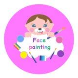 Χαριτωμένος λίγο μωρό με το makeup, το χρώμα και τη βούρτσα Έμβλημα ζωγραφικής προσώπου διάνυσμα ασπίδων απεικόνισης 10 eps ελεύθερη απεικόνιση δικαιώματος