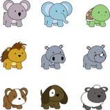 Χαριτωμένος λίγο σύνολο κινούμενων σχεδίων ζώων μωρών διανυσματική απεικόνιση