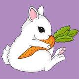 Χαριτωμένος λίγο bunny με το καρότο ελεύθερη απεικόνιση δικαιώματος