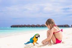Χαριτωμένος μεγάλος ζωηρόχρωμος παπαγάλος με το λατρευτό μικρό κορίτσι Στοκ Εικόνα