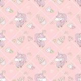 Χαριτωμένος μονόκερος και cupcake Στοκ Εικόνα