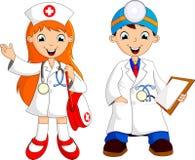 Χαριτωμένος νέος γιατρός δύο Στοκ εικόνα με δικαίωμα ελεύθερης χρήσης
