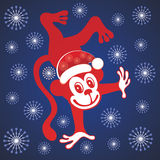 Χαριτωμένος πίθηκος κινούμενων σχεδίων νέο έτος Χριστουγέννων Στοκ Εικόνα
