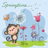 Χαριτωμένος πίθηκος με την πικραλίδα διανυσματική απεικόνιση