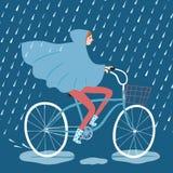 Χαριτωμένος ποδηλάτης κοριτσιών κάτω από τη διανυσματική απεικόνιση βροχής Στοκ Φωτογραφίες