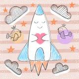 Χαριτωμένος πύραυλος - απεικόνιση μωρών κινούμενων σχεδίων διανυσματική απεικόνιση