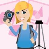 Χαριτωμένος φωτογράφος κινούμενων σχεδίων με τη κάμερα και το τρίποδο διανυσματική απεικόνιση