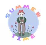 Χαριτωμένος χαρακτήρας κηπουρών κινούμενων σχεδίων και τα λουλούδια, απομονωμένη διάνυσμα απεικόνιση στο απλό ύφος ελεύθερη απεικόνιση δικαιώματος