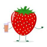 Χαριτωμένος χαρακτήρας κινουμένων σχεδίων φραουλών που κρατά ένα γυαλί με το χυμό διανυσματική απεικόνιση
