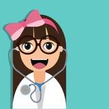 Χαριτωμένος χαρακτήρας κινουμένων σχεδίων γιατρών Στοκ Εικόνες