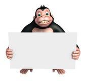 Χαριτωμένος χαρακτήρας κινουμένων σχεδίων γορίλλων με το λευκό πίνακα Στοκ Εικόνα
