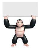 Χαριτωμένος χαρακτήρας κινουμένων σχεδίων γορίλλων με το λευκό πίνακα Στοκ εικόνες με δικαίωμα ελεύθερης χρήσης