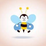 Χαριτωμένος χαρακτήρας κινουμένων σχεδίων μασκότ μελισσών Στοκ Εικόνα