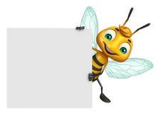χαριτωμένος χαρακτήρας κινουμένων σχεδίων μελισσών με το λευκό πίνακα Στοκ Εικόνες