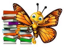χαριτωμένος χαρακτήρας κινουμένων σχεδίων πεταλούδων με τα βιβλία διανυσματική απεικόνιση