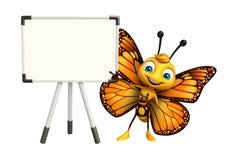χαριτωμένος χαρακτήρας κινουμένων σχεδίων πεταλούδων με τον πίνακα επίδειξης ελεύθερη απεικόνιση δικαιώματος