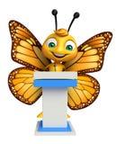 χαριτωμένος χαρακτήρας κινουμένων σχεδίων πεταλούδων με το λεκτικό στάδιο απεικόνιση αποθεμάτων