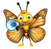 χαριτωμένος χαρακτήρας κινουμένων σχεδίων πεταλούδων με το δυνατό ομιλητή ελεύθερη απεικόνιση δικαιώματος
