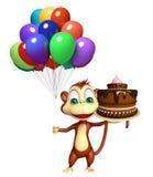 Χαριτωμένος χαρακτήρας κινουμένων σχεδίων πιθήκων με το baloon και το κέικ Στοκ Εικόνες