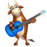 Χαριτωμένος χαρακτήρας κινουμένων σχεδίων του Bull με το guiter Στοκ Εικόνα