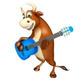 Χαριτωμένος χαρακτήρας κινουμένων σχεδίων του Bull με το guiter Στοκ Εικόνες