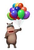 Χαριτωμένος χαρακτήρας κινουμένων σχεδίων Hippo με το baloon Στοκ Φωτογραφία