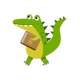 Χαριτωμένος χαρακτήρας κροκοδείλων κινούμενων σχεδίων που περπατά με τη διανυσματική απεικόνιση βιβλίων Στοκ Εικόνες